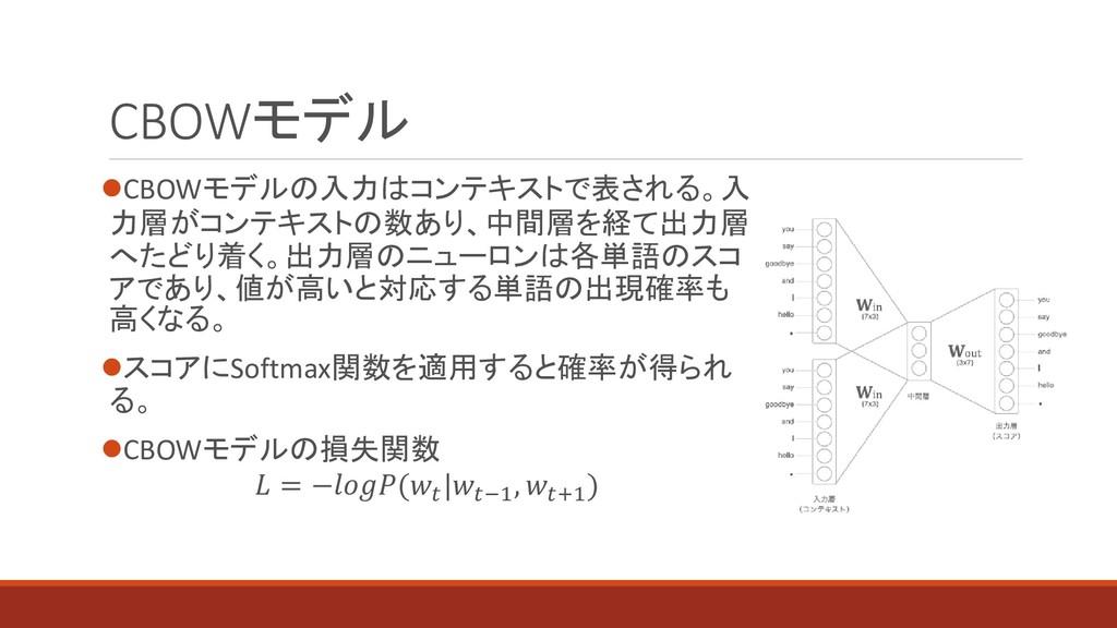 CBOWモデル ⚫CBOWモデルの入力はコンテキストで表される。入 力層がコンテキストの数あり...