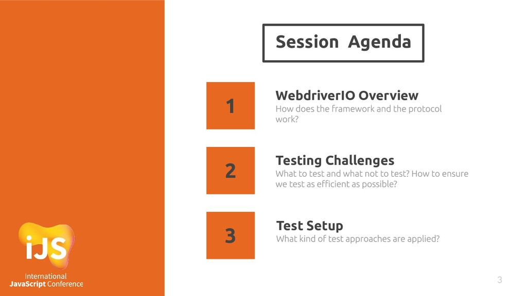 Session Agenda 3 WebdriverIO Overview Testing C...