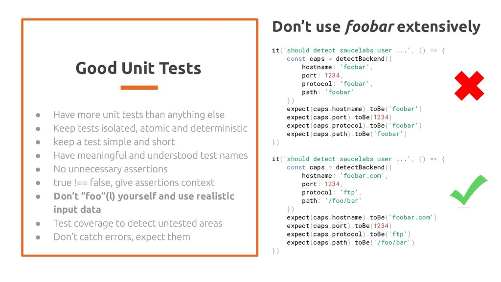 "Good Unit Tests ● ● ● ● ● ● ● Don't ""foo""(l) yo..."