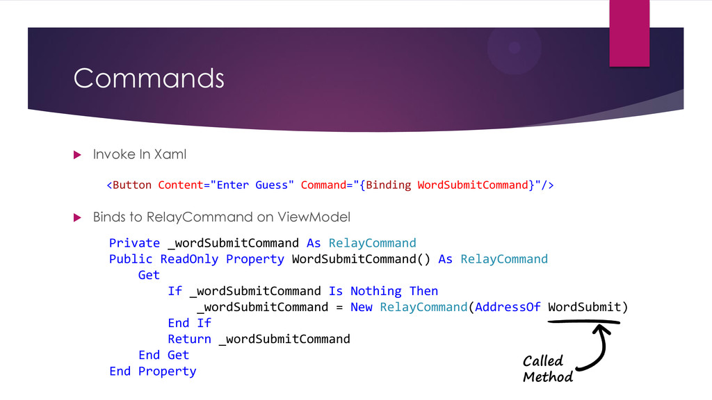 "Commands  Invoke In Xaml <Button Content=""Ente..."