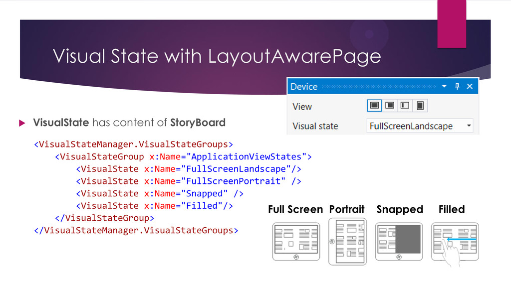 Visual State with LayoutAwarePage  VisualState...