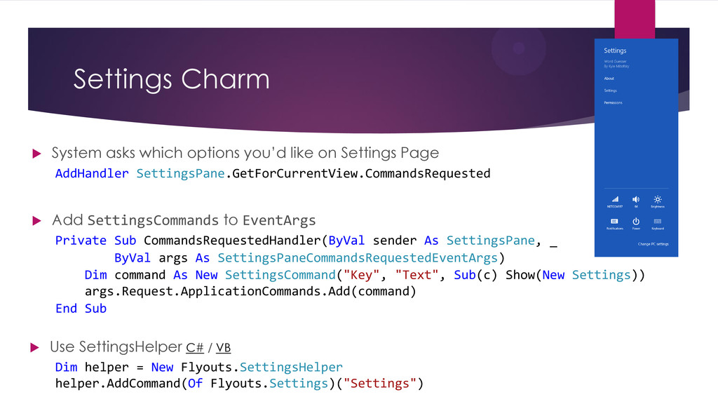 Settings Charm AddHandler SettingsPane.GetForCu...