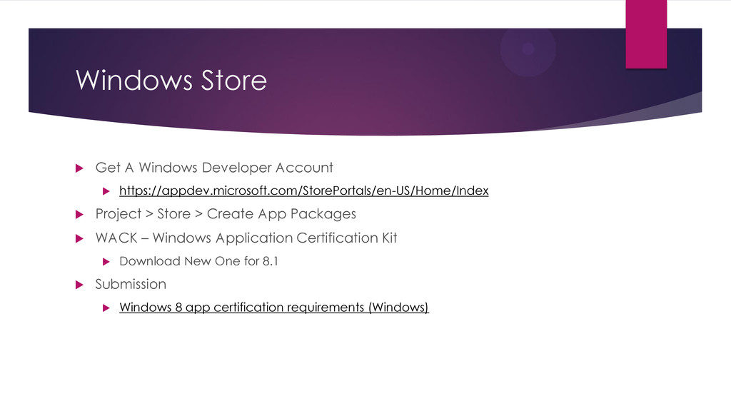 Windows Store  Get A Windows Developer Account...