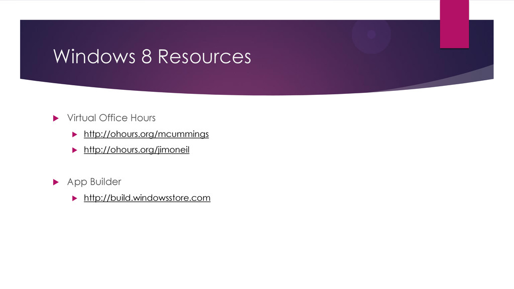 Windows 8 Resources  Virtual Office Hours  ht...