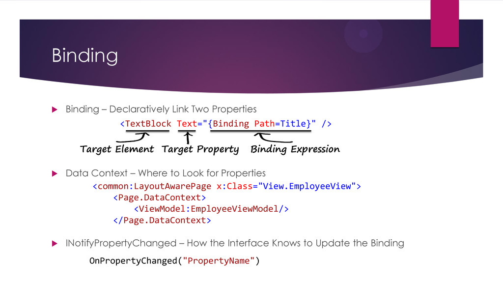 Binding  Binding – Declaratively Link Two Prop...