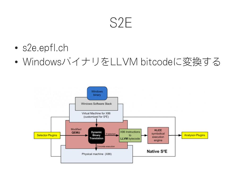 S2E ● s2e.epfl.ch ● WindowsバイナリをLLVM bitcodeに変換...