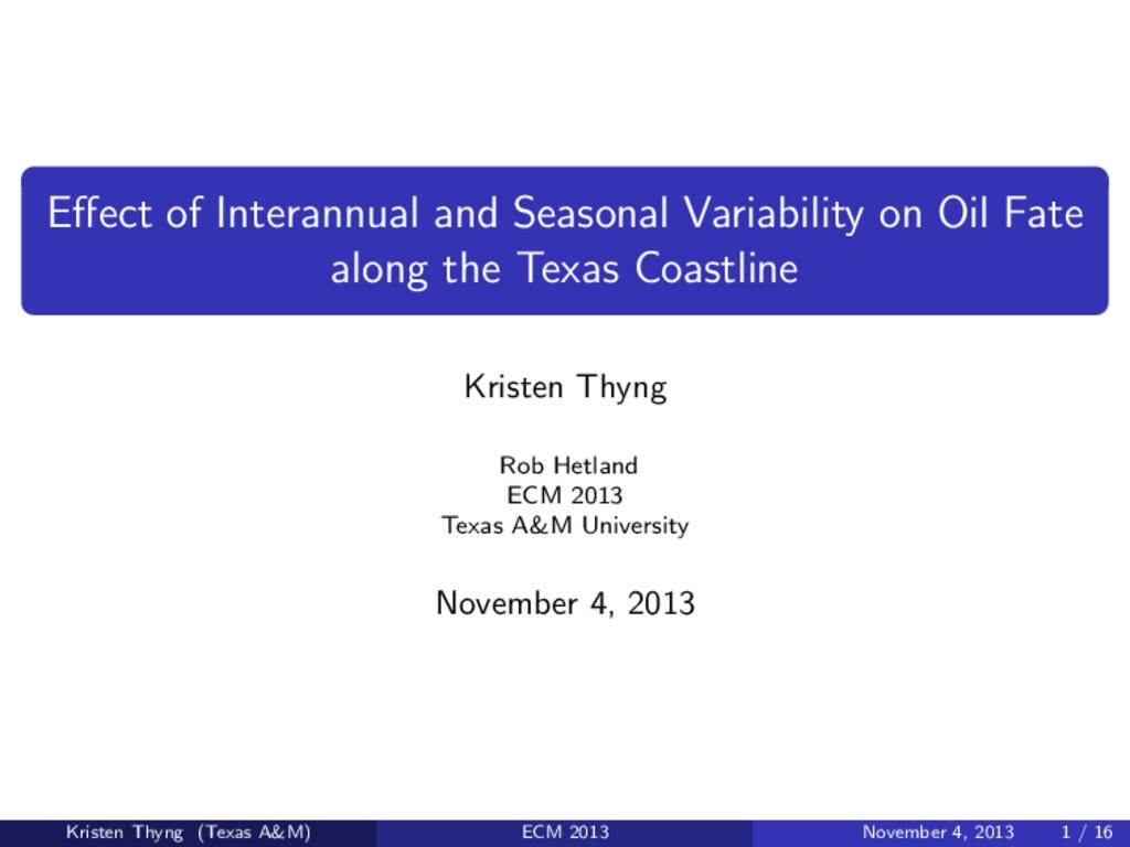 Effect of Interannual and Seasonal Variability o...