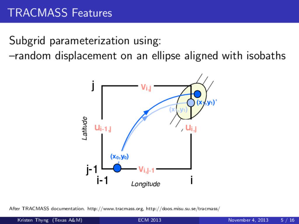TRACMASS Features Subgrid parameterization usin...
