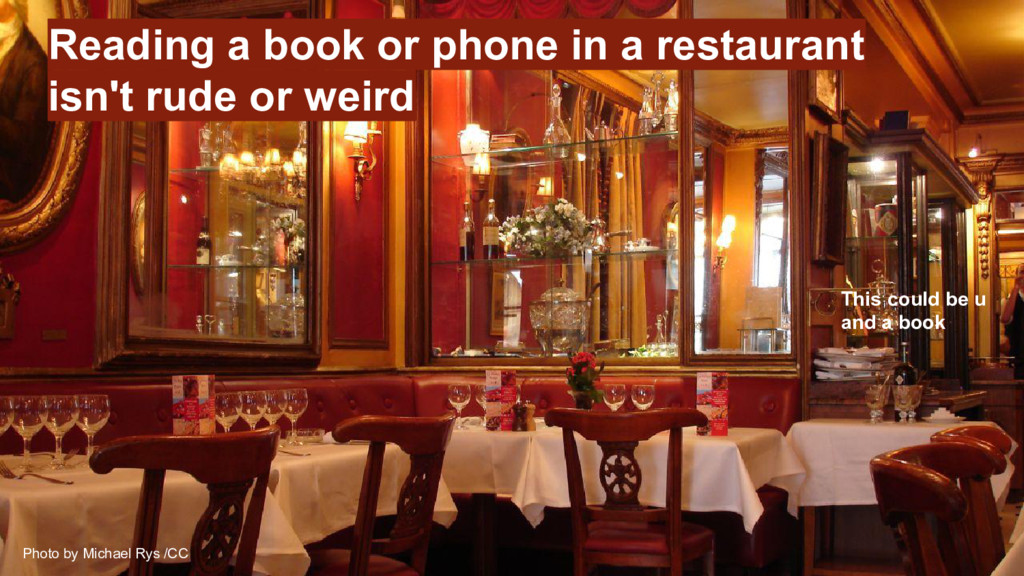 Reading a book or phone in a restaurant isn't r...
