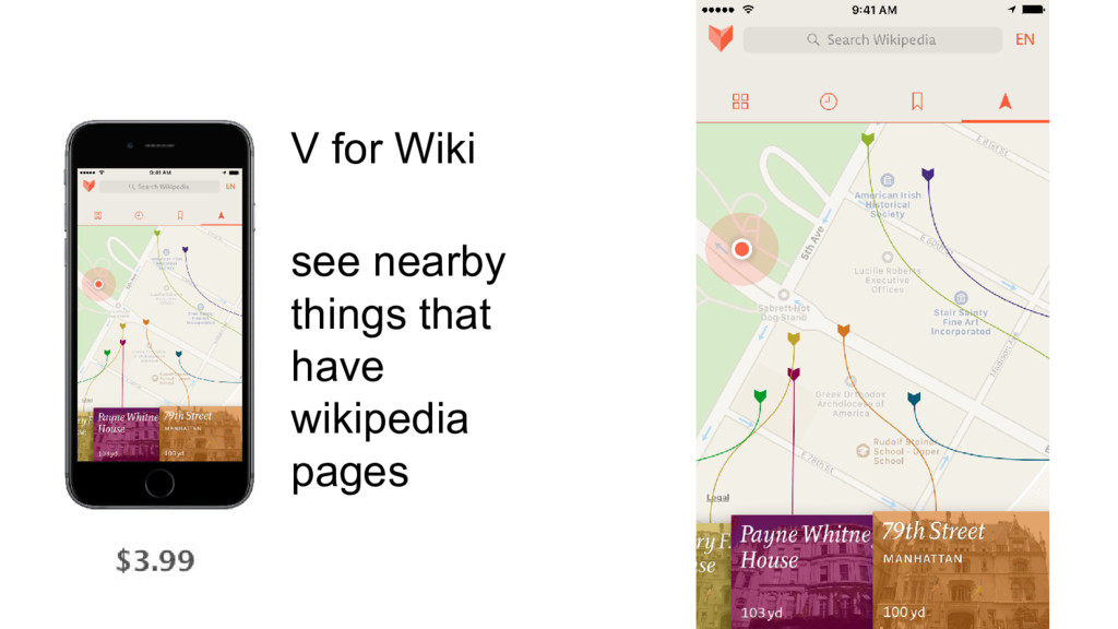 V for Wiki see nearby things that have wikipedi...