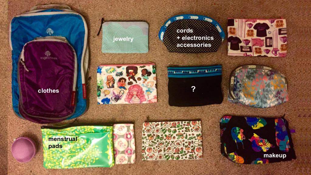 clothes jewelry makeup menstrual pads cords + e...