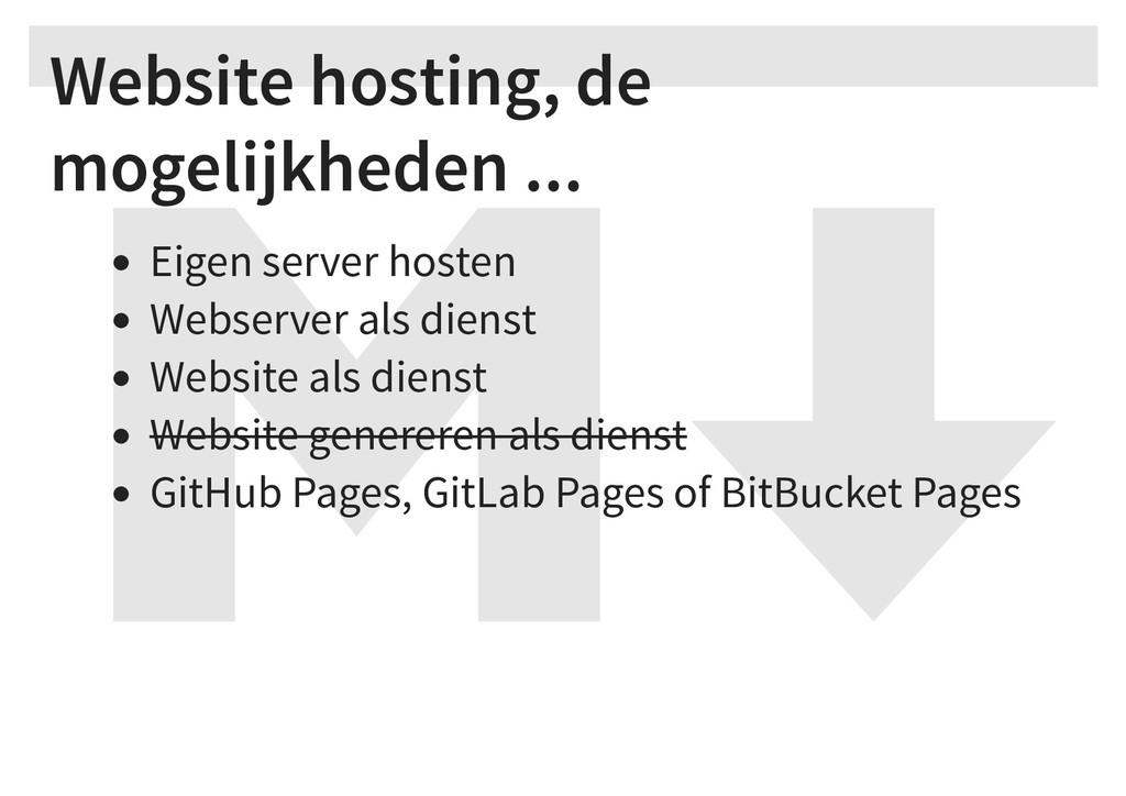 Website hosting, de mogelijkheden ... Eigen ser...