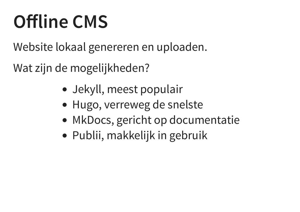 Offline CMS Website lokaal genereren en uploaden...