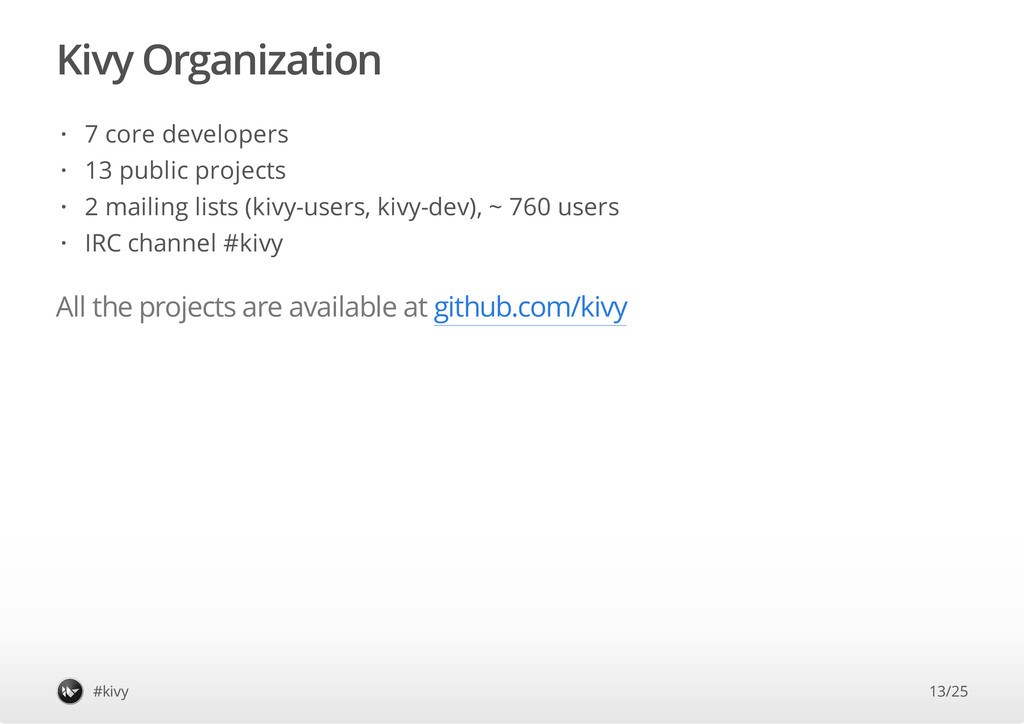 Kivy Organization All the projects are availabl...