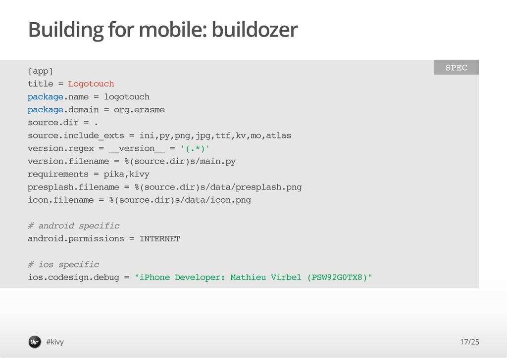 Building for mobile: buildozer #kivy [ a p p ] ...