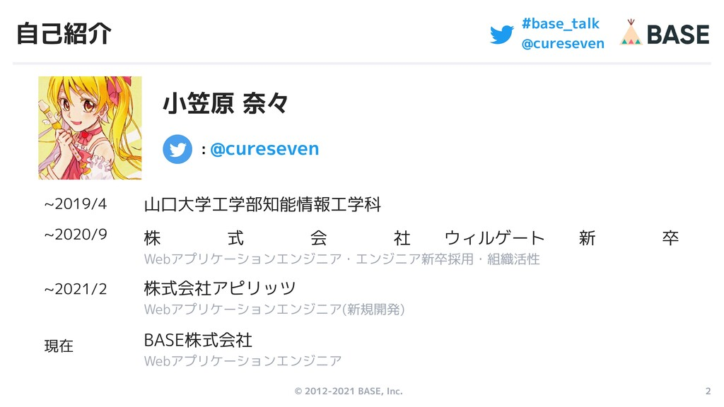 © 2012-2021 BASE, Inc. 2 #base_talk @cureseven ...