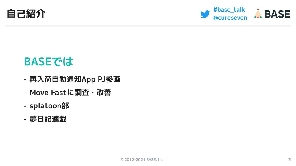 © 2012-2021 BASE, Inc. 3 #base_talk @cureseven ...