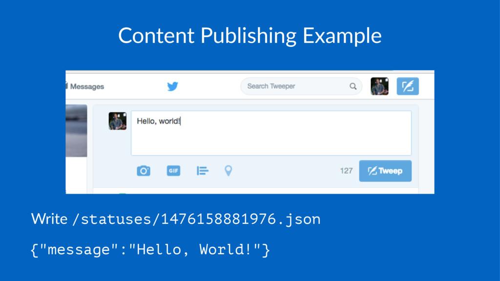 Content Publishing Example Write /statuses/1476...