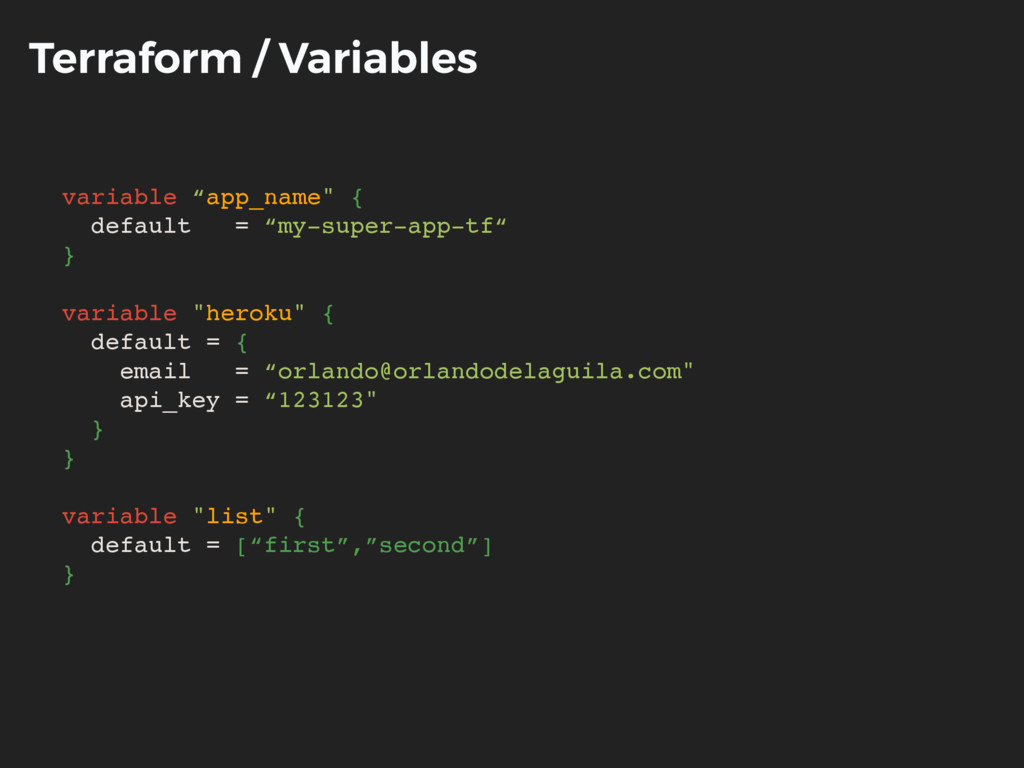 "Terraform / Variables variable ""app_name"" { def..."