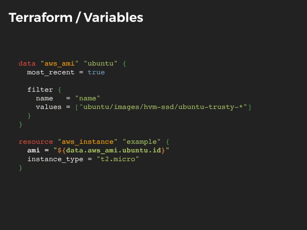 "Terraform / Variables data ""aws_ami"" ""ubuntu"" {..."