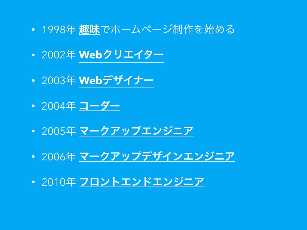 • 1998 झຯͰϗʔϜϖʔδ੍࡞ΛΊΔ • 2002 WebΫϦΤΠλʔ • 200...