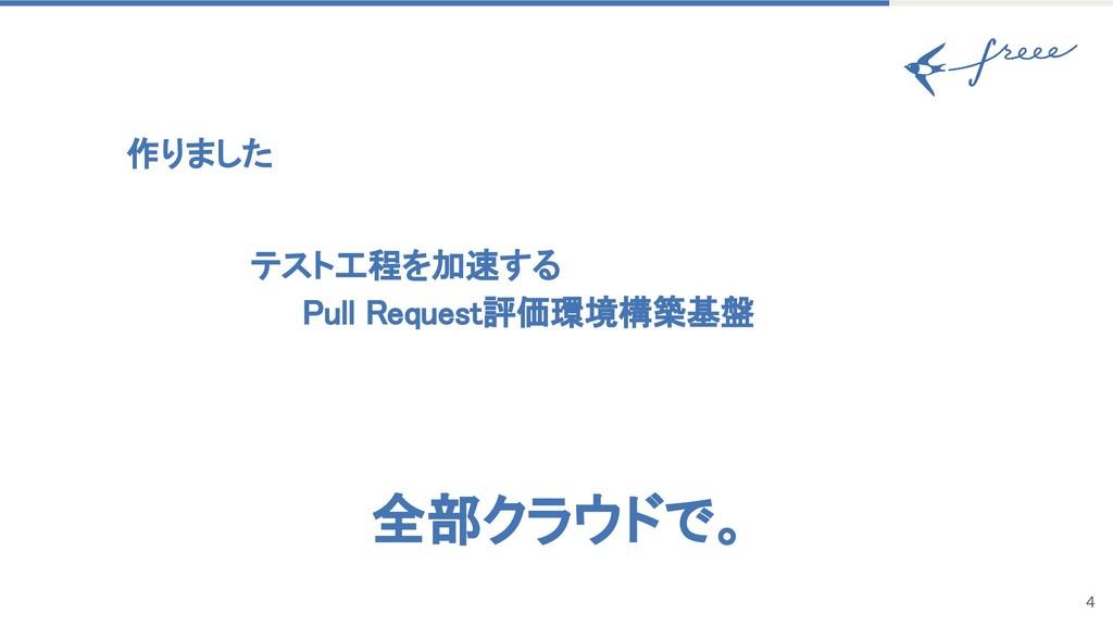 4 作りました テスト工程を加速する Pull Request評価環境構築基盤 全部クラウドで。