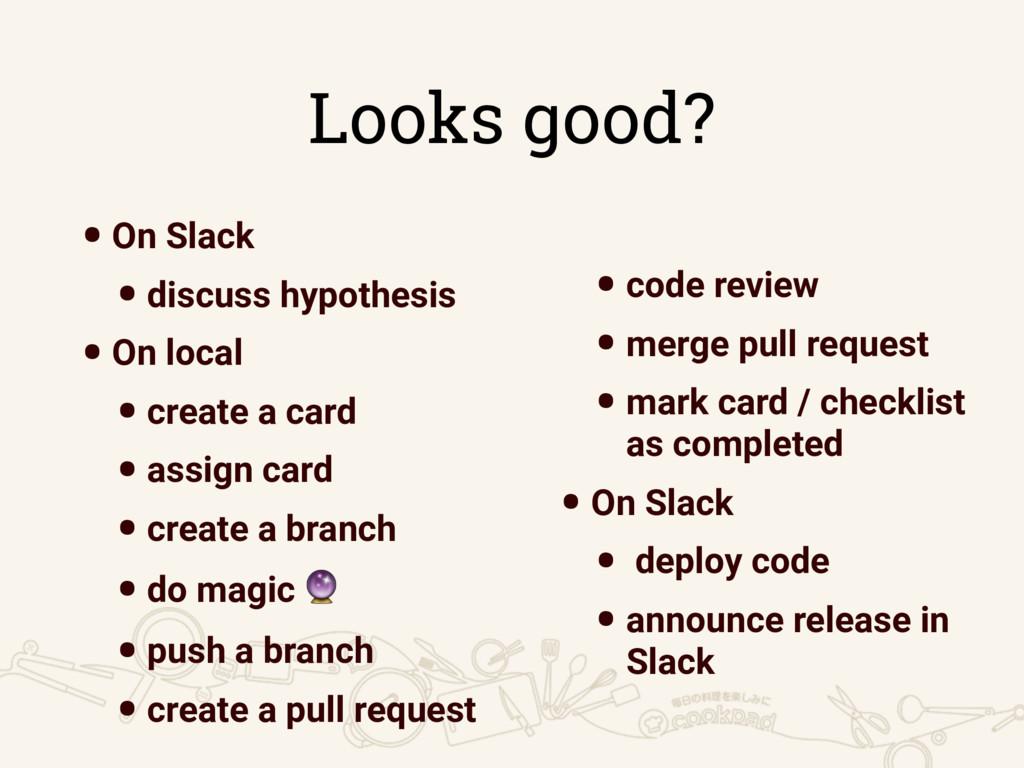 Looks good? •On Slack •discuss hypothesis •On l...