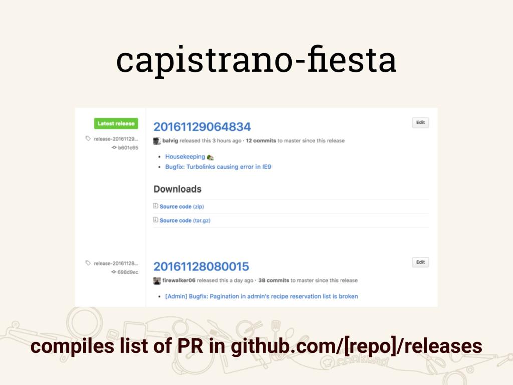 capistrano-fiesta compiles list of PR in github....