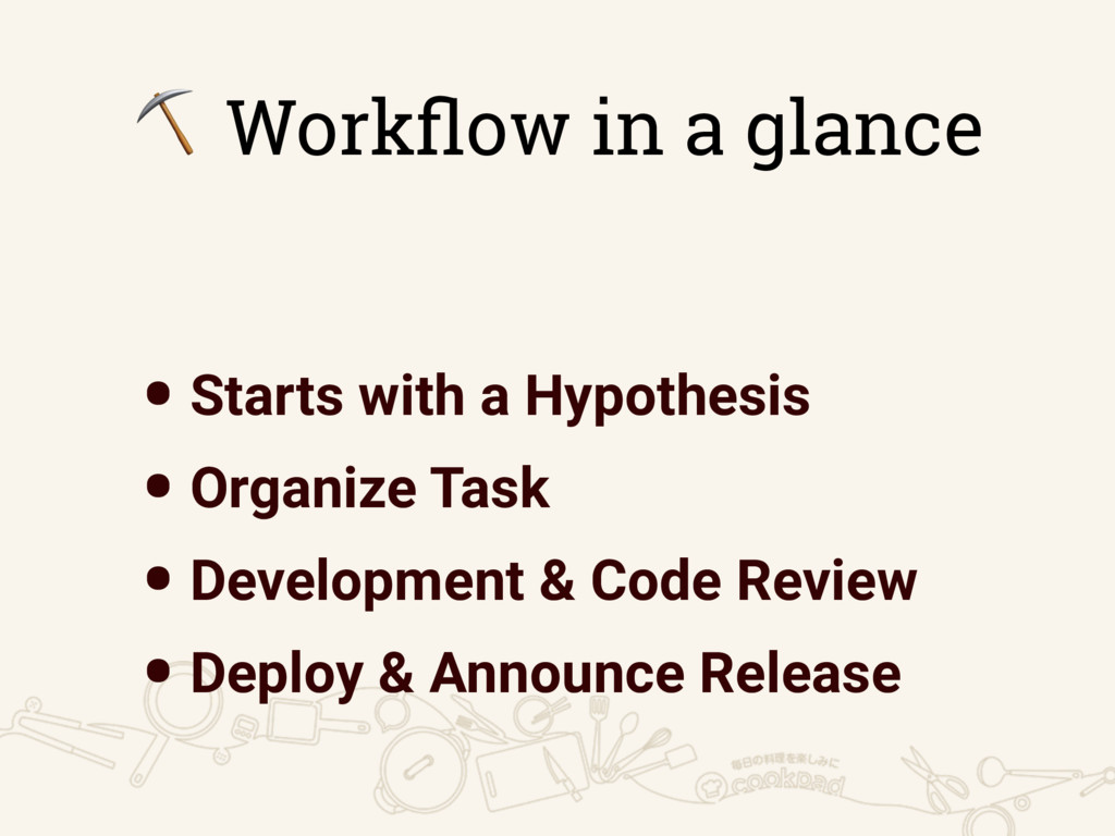 ⛏ Workflow in a glance •Starts with a Hypothesis...