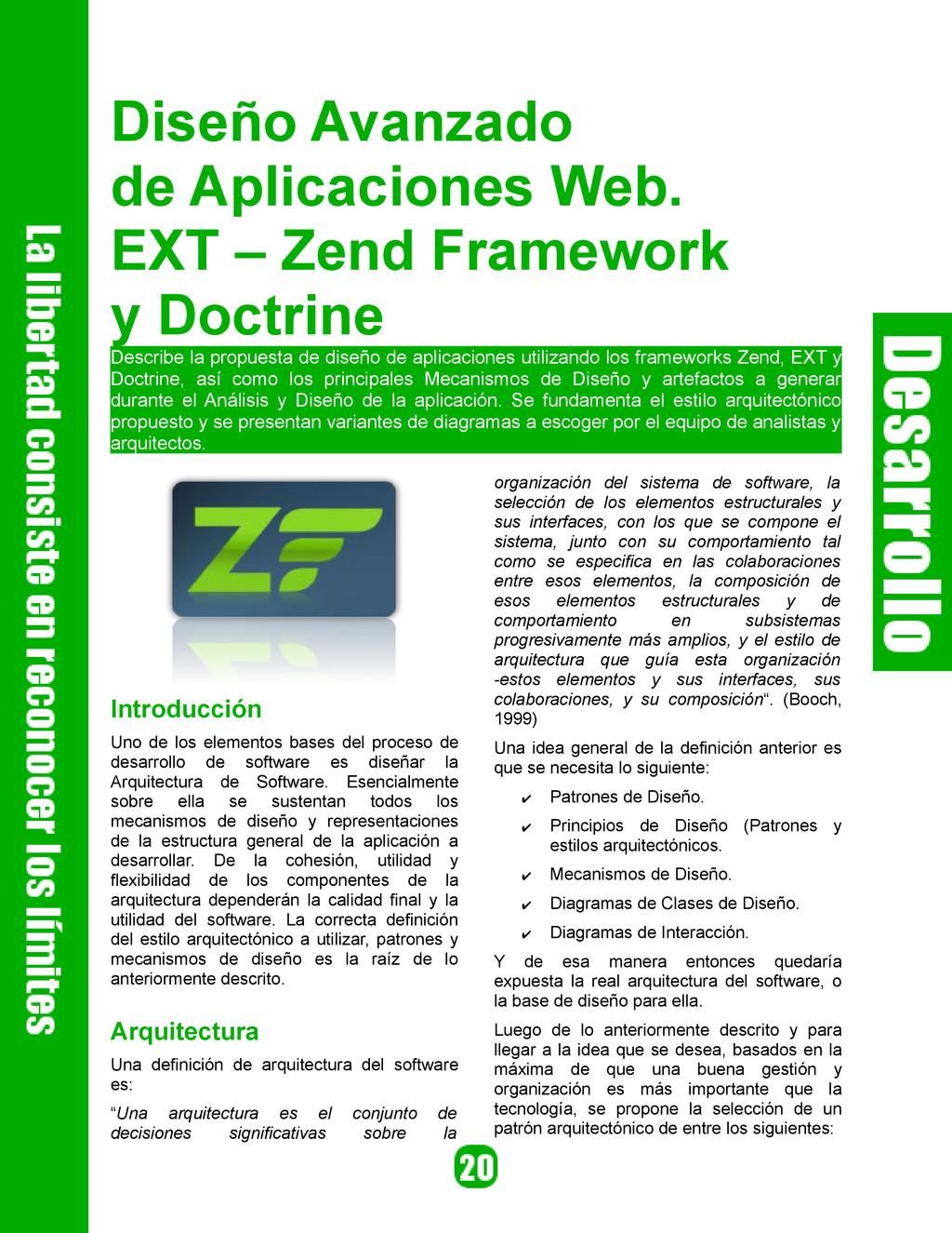 Diseño Avanzado de Aplicaciones Web. EXT – Zend...