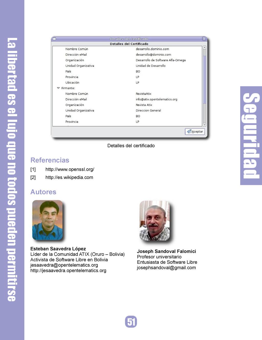 Detalles del certificado Referencias [1] http:/...