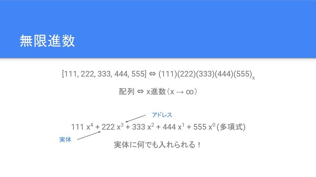 無限進数 [111, 222, 333, 444, 555] ⇔ (111)(222)(333...