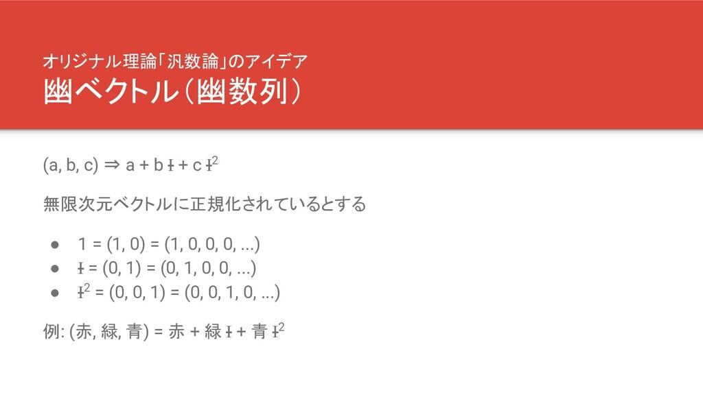 オリジナル理論「汎数論」のアイデア 幽ベクトル(幽数列) (a, b, c) ⇒ a + b ...