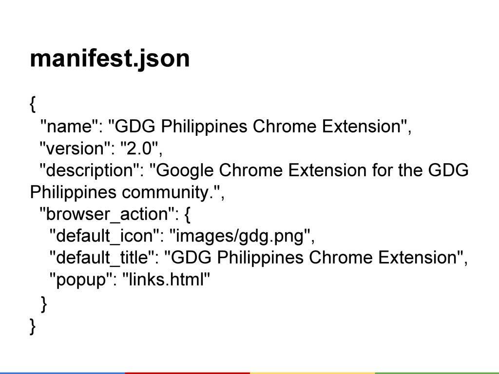 "manifest.json { ""name"": ""GDG Philippines Chrome..."