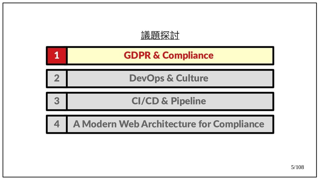 5/108 議題探討 GDPR & Compliance 1 DevOps & Culture...