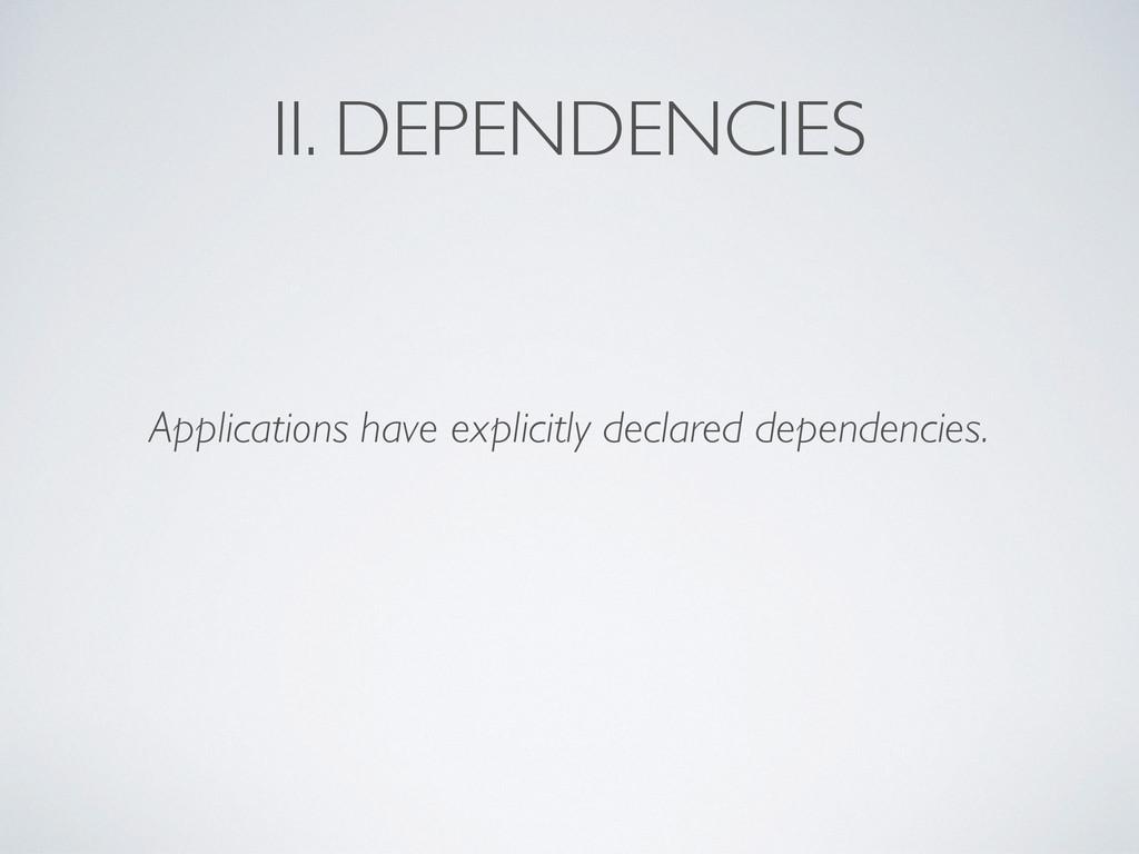 II. DEPENDENCIES Applications have explicitly d...