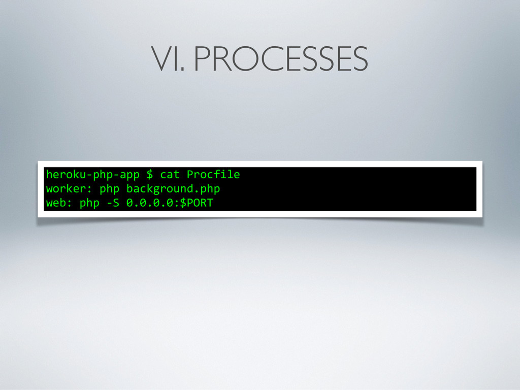 VI. PROCESSES heroku-‐php-‐app $ cat ...
