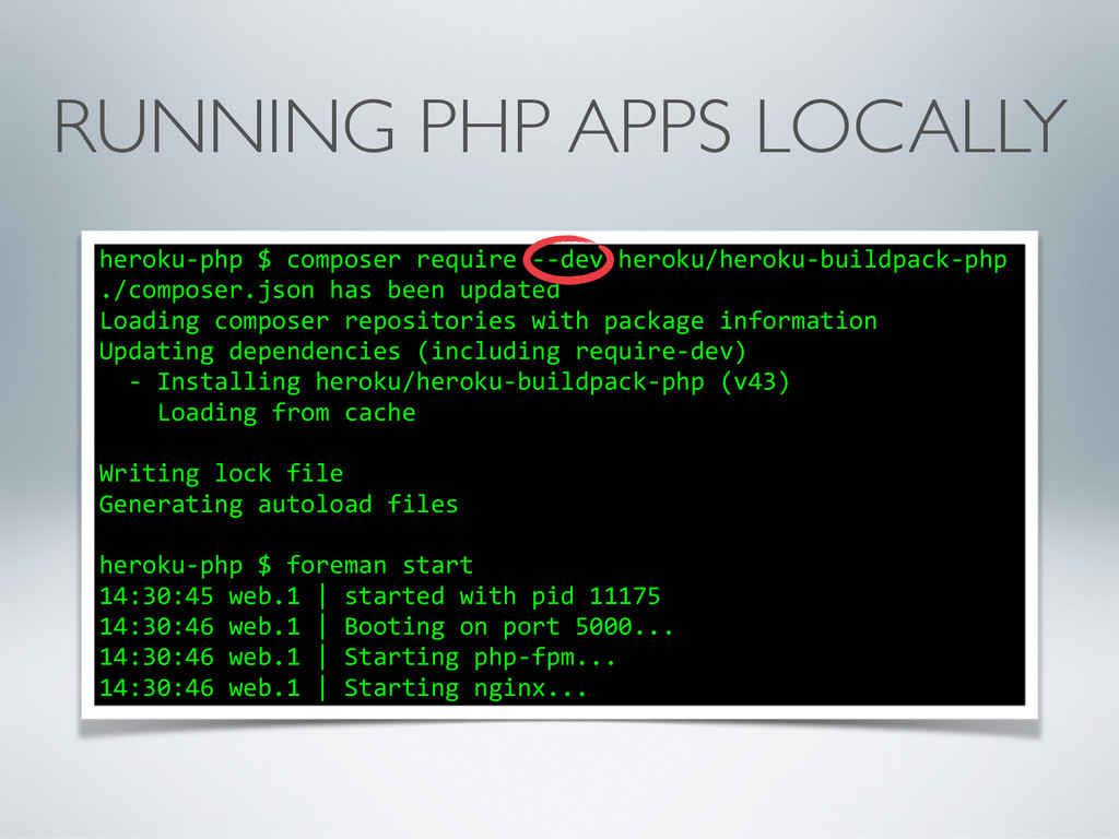 RUNNING PHP APPS LOCALLY heroku-‐php $ c...