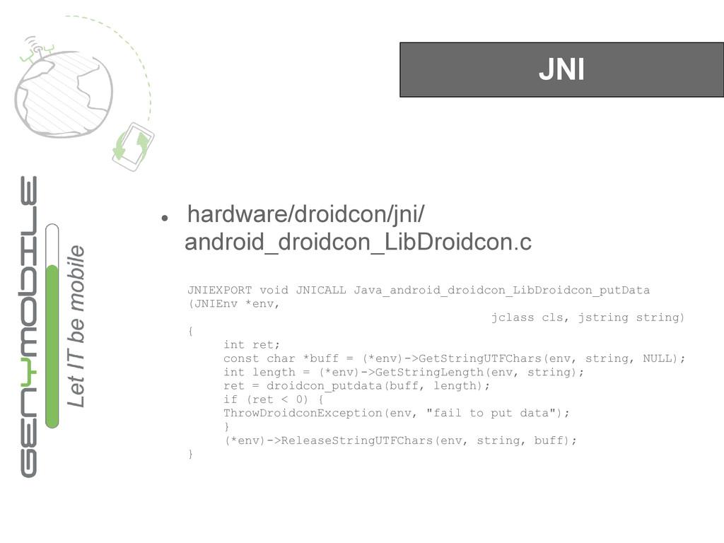 JNI ● hardware/droidcon/jni/ android_droidcon_L...