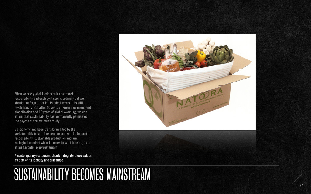 SUSTAINABILITY BECOMES MAINSTREAM When we see g...