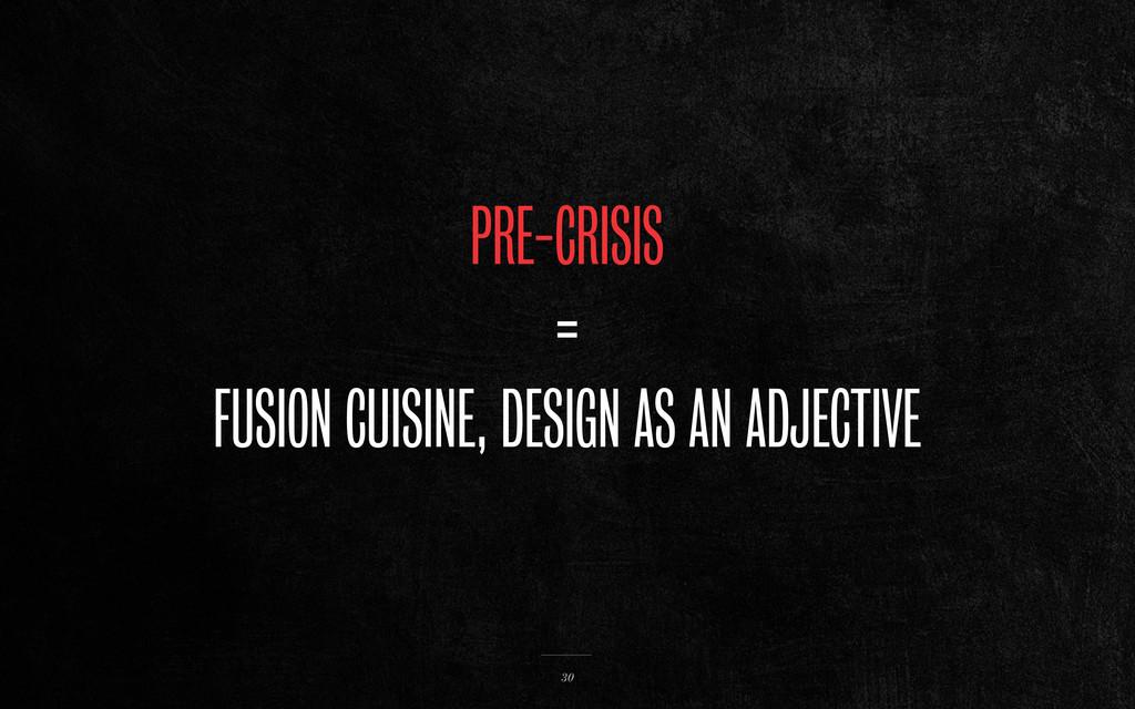 PRE-CRISIS = FUSION CUISINE, DESIGN AS AN ADJEC...
