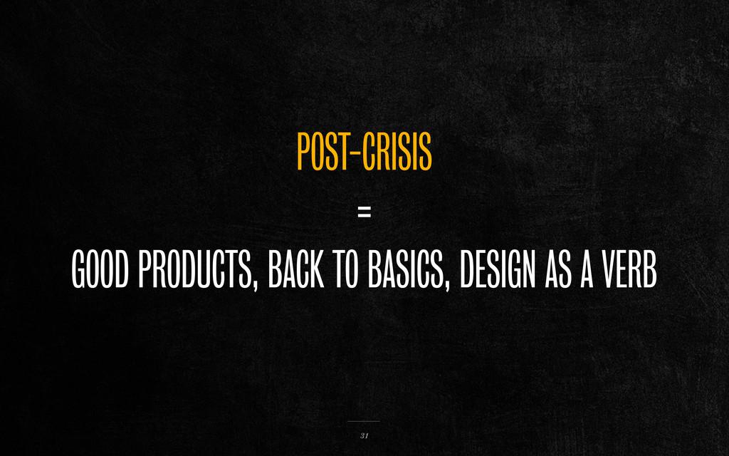 POST-CRISIS = GOOD PRODUCTS, BACK TO BASICS, DE...