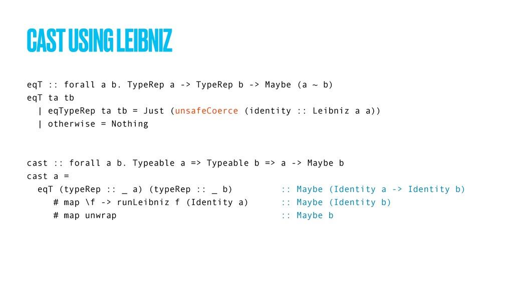 eqT :: forall a b. TypeRep a -> TypeRep b -> Ma...