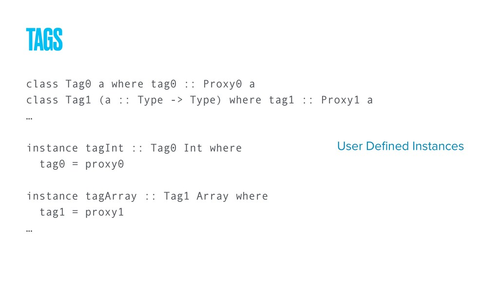class Tag0 a where tag0 :: Proxy0 a class Tag1 ...