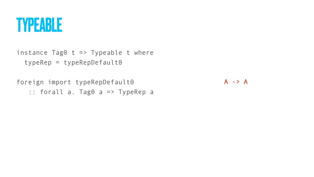 instance Tag0 t => Typeable t where typeRep = t...