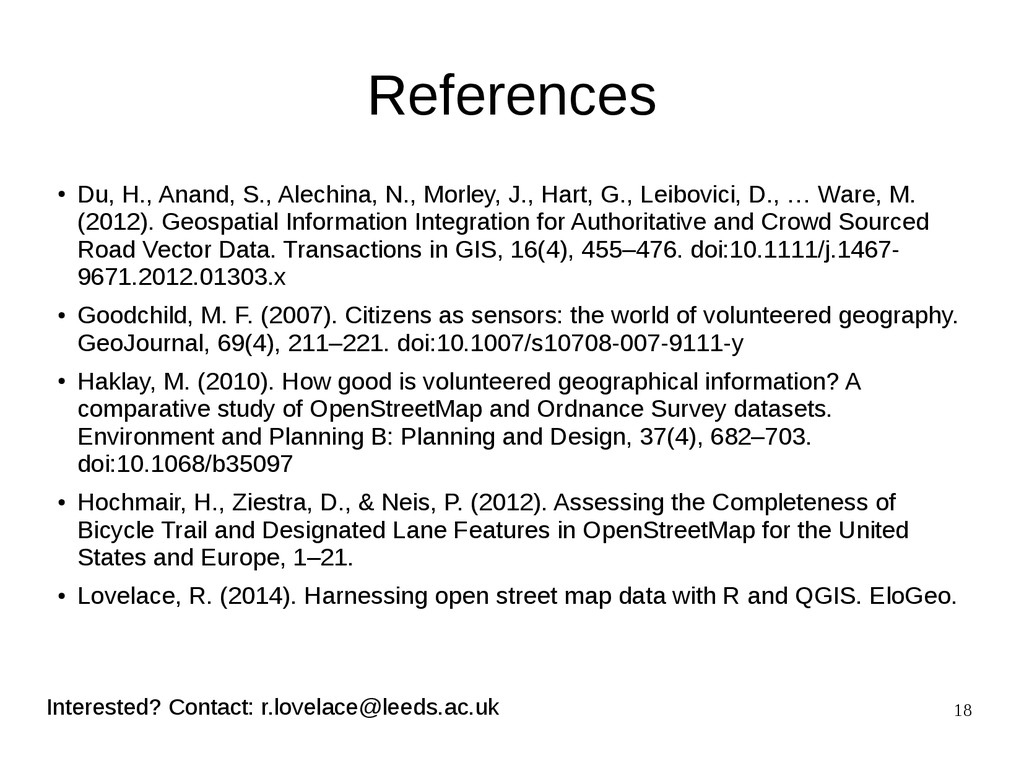 18 References ● Du, H., Anand, S., Alechina, N....