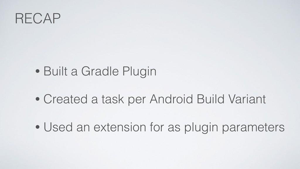 • Built a Gradle Plugin • Created a task per An...