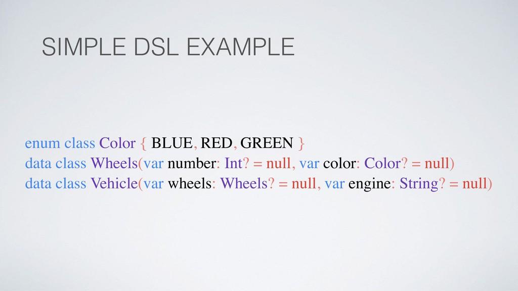 SIMPLE DSL EXAMPLE enum class Color { BLUE, RED...