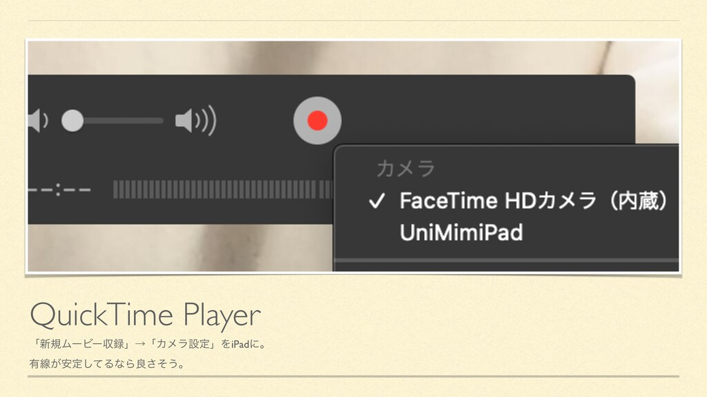 QuickTime Player ʮ৽نϜʔϏʔऩʯˠʮΧϝϥઃఆʯΛiPadʹɻ ༗ઢ͕҆...