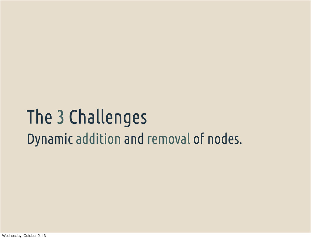 Dynamic addition and removal of nodes. The 3 Ch...
